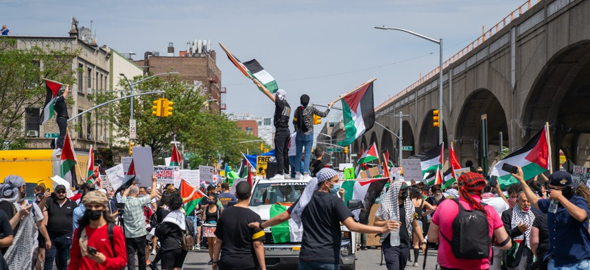 A Free Palestine rally in Queens on May 22.