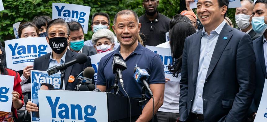 John Liu endorsing Andrew Yang on May 24.