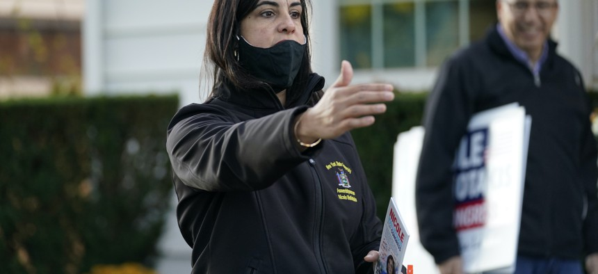Republican New York state Assemblywoman Nicole Malliotakis on the campaign trail.
