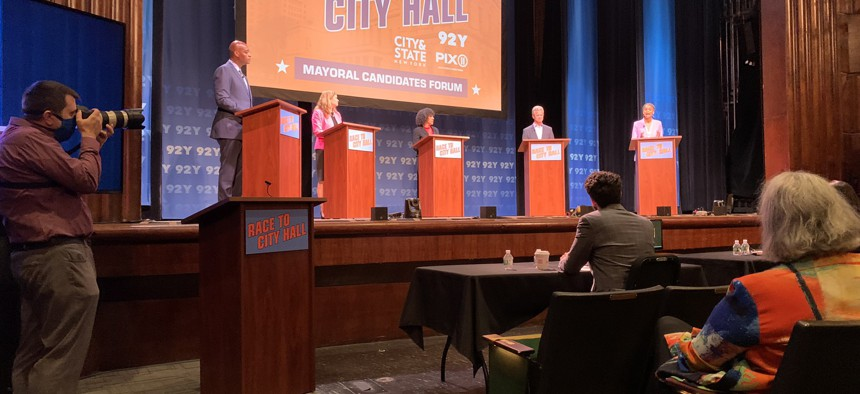 Five New York City mayoral candidates attend a forum hosted by City & State, the 92nd Street Y and PIX11.