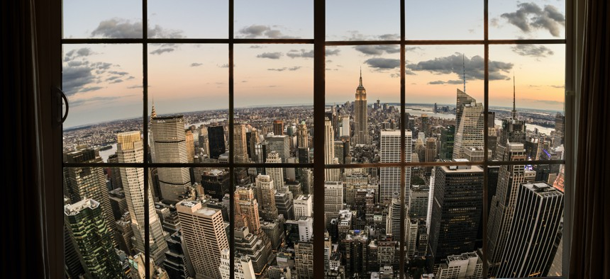 Manhattan view from an NYC apartment building.