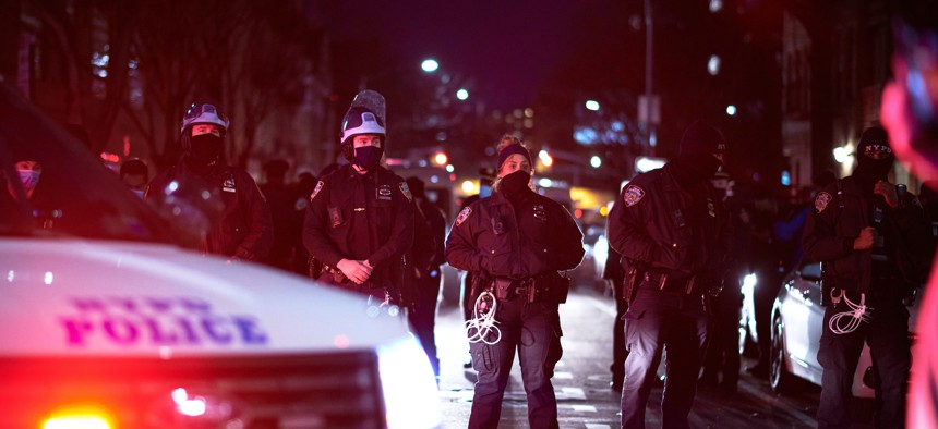 The NYPD in Feb. 2021.