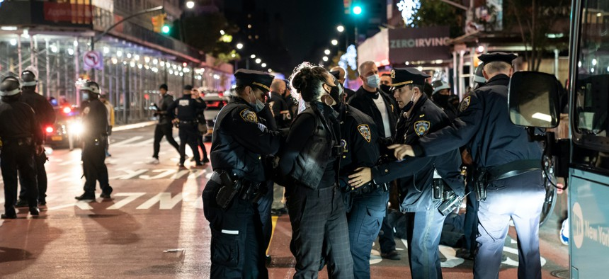 NYPD officers arresting protestors at Union Square on the evening of Nov. 4, 2020.