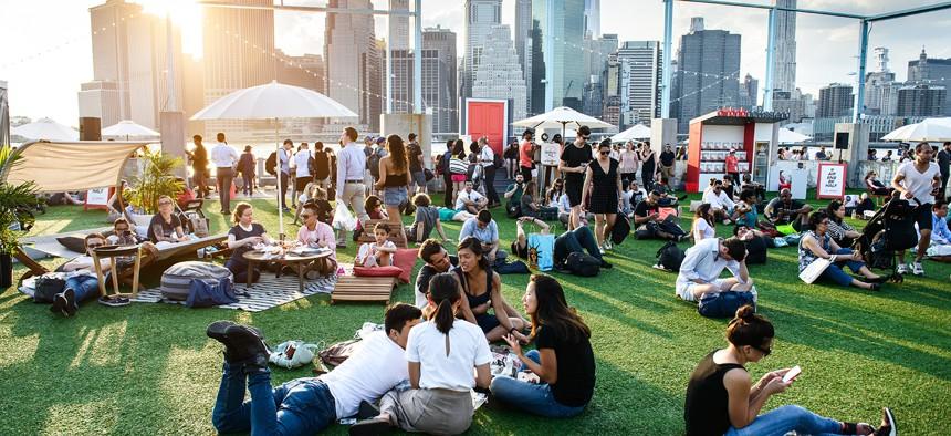 People enjoying summer in NYC.