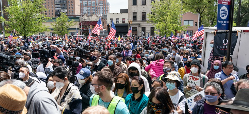 A diverse group in Queens rallied against anti-Asian hate crimes on May 2.