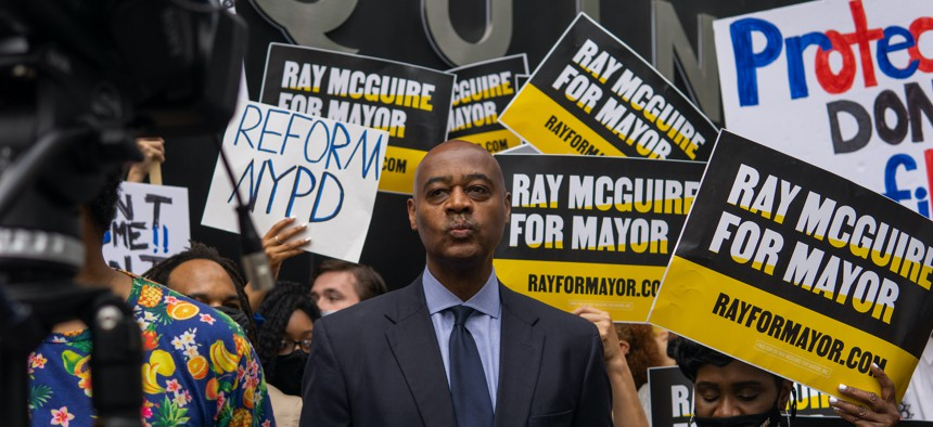 Ray McGuire at the first in-person mayoral debate.