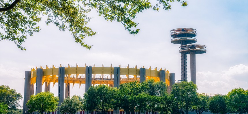 The famous observation towers at Flushing Meadows Corona Park