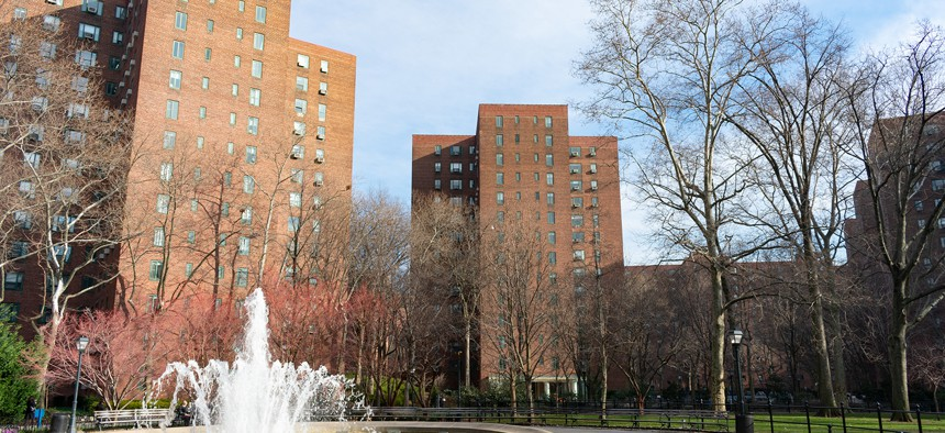 Fountain and Residential Buildings at StuyTown in New York City