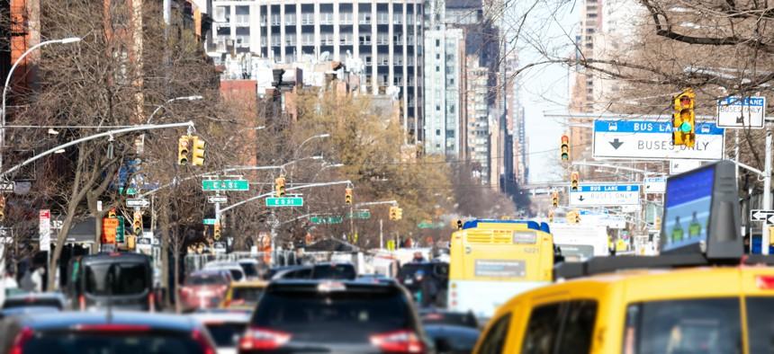 New York City rush hour traffic on 1st Avenue.