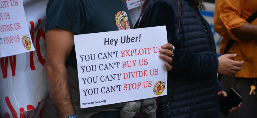 Protesting Uber's working conditions