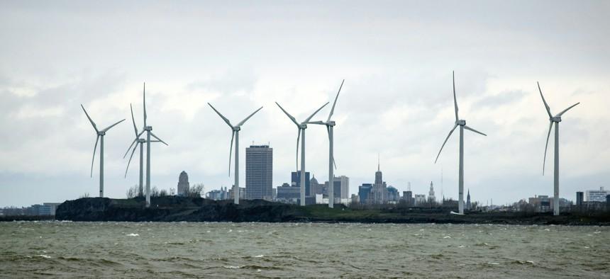 Windmills on Lake Erie in Buffalo, NY.