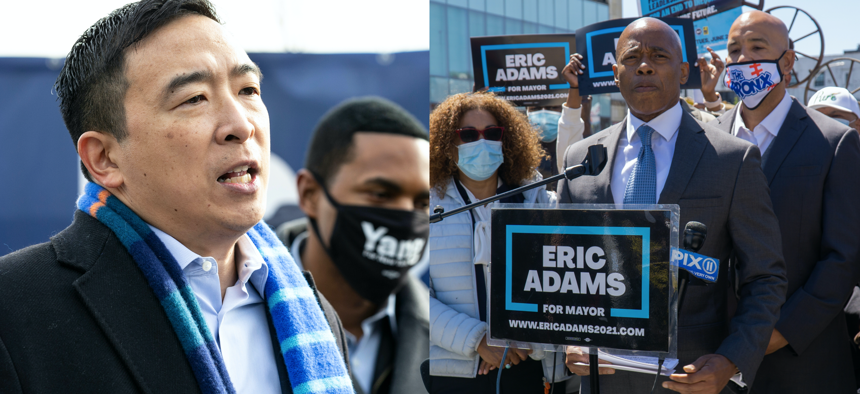 Mayoral candidates Andrew Yang and Eric Adams