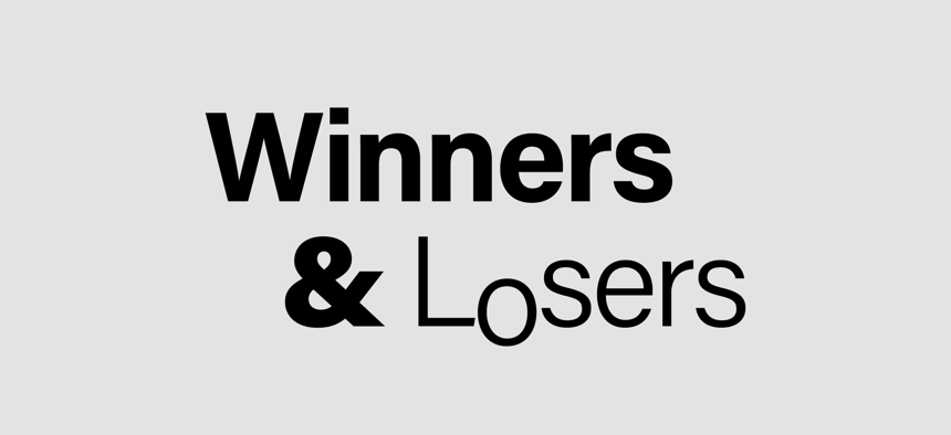 "Grey box with words ""Winners & Losers"" written in black"