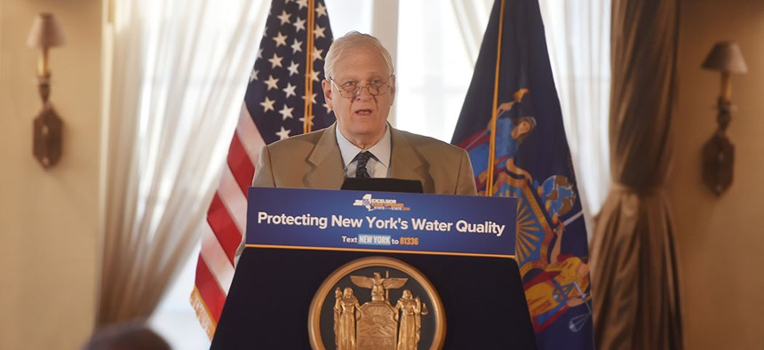 New York Assemblyman Steven Englebright at the unveiling a state-of-the-art well system to fully contain and treat the plume of contamination caused by industrial waste from the U.S. Navy in 2018.