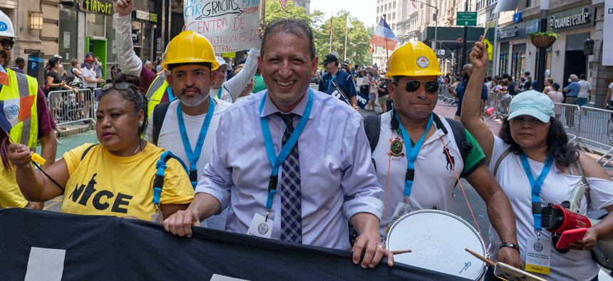 Brad Lander at the Hometown Heroes ticker tape parade on July 7.
