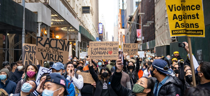 March against Asian hate in April 2021.