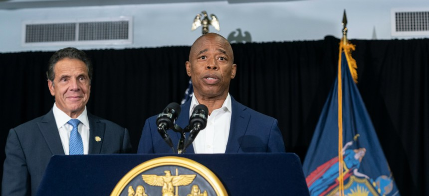 Eric Adams and Gov. Cuomo at a joint press conference on July 14.