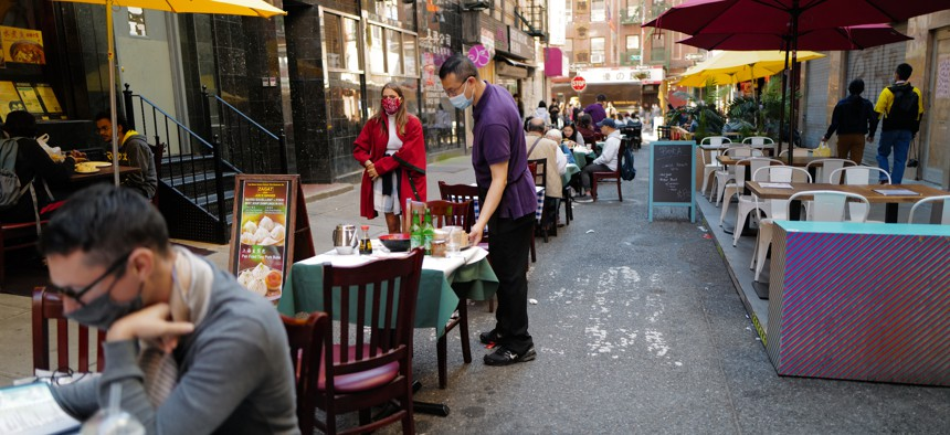 Outdoor dining in Chinatown.