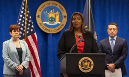 State Attorney General Letitia James, with investigators Anne Clark (left) and Joon Kim (right), announcing the findings of an investigation into sexual harassment by Gov. Andrew Cuomo.