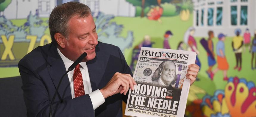 Bill de Blasio at a media availability at Bronx Borough Hall.
