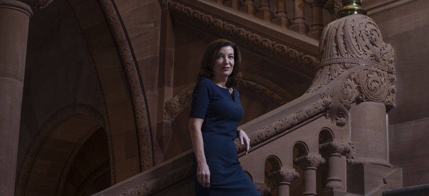 Lt. Gov. Kathy Hochul on the Million Dollar Staircase at the state Capitol in Albany.
