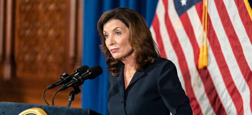 Kathy Hochul addressing the people of New York on August 11.