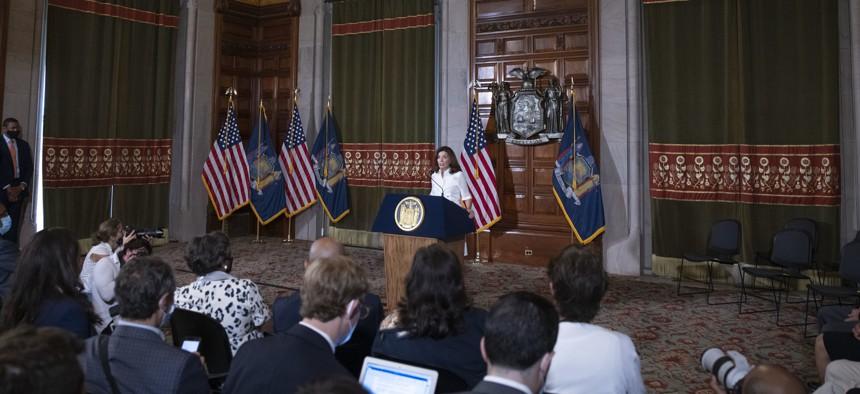 Gov. Kathy Hochul speaks after being sworn in.