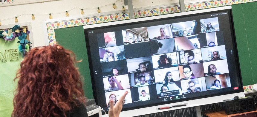 Students learning remotely at One World Middle School in the Bronx.