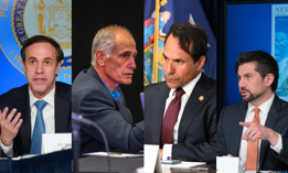 On the left: Former state Health Commissioner Howard Zucker and former MTA board member Larry Schwartz. On the right: Budget Director Robert Mujica and SUNY Chancellor Jim Malatras.